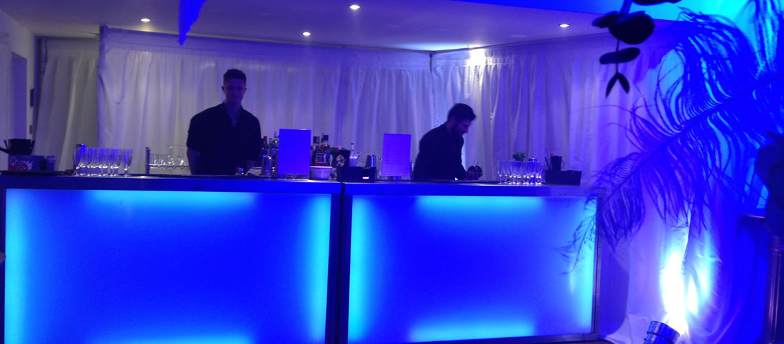 our mobile bars blue lighting